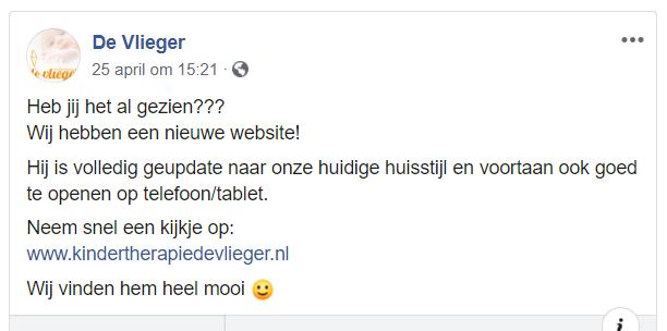 Facebookbericht Kindertherapiepraktijk De Vlieger
